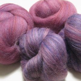 Mixed Berries Batt Set: shetland, corriedale, and other wool