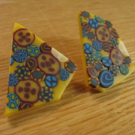 Yellow Millefiore polymer clay earrings