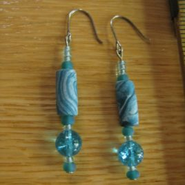 Aqua Swirl earrings: polymer clay and glass beads