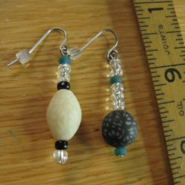 Night Sky earrings: glow-in-the-dark polymer clay and glass