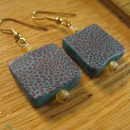 Rust & Turquoise Squares: polymer clay earrings