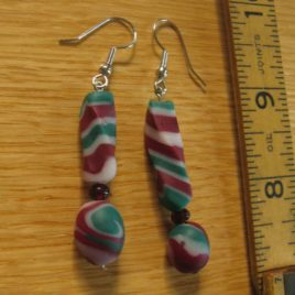 Christmas Stripe earrings: polymer clay and garnet beads