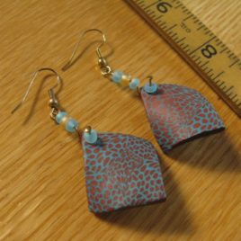 Rust/Turquoise Curved Diamonds: polymer clay earrings