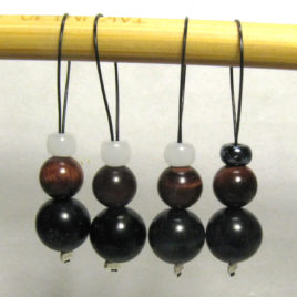 Beaded stitch markers: Blue and red tiger-eye with white glass