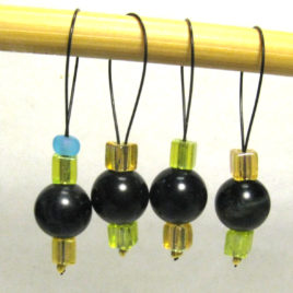 Beaded stitch markers: Blue tiger-eye and mixed glass