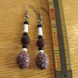 Maroon & Cream set: polymer clay & glass beaded earrings