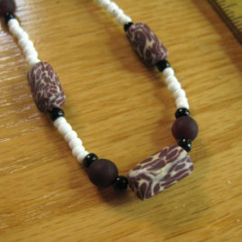Maroon & Cream set: polymer clay & glass beaded necklace