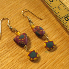 Harvest: polymer clay & glass beaded earrings