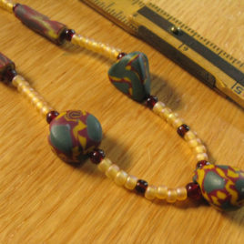 Harvest: polymer clay & glass beaded necklace