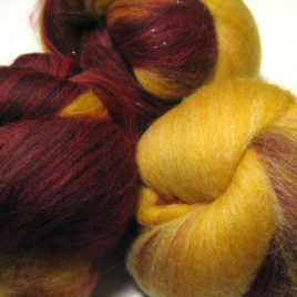 Ruby & Citrine: super-sparkly spinning batts